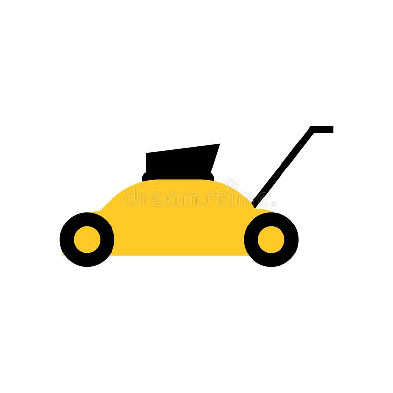 Lawn mower icon vector sign and symbol isolated on white background, Lawn mower logo concept. Lawn mower icon vector isolated on white background for your web vector illustration