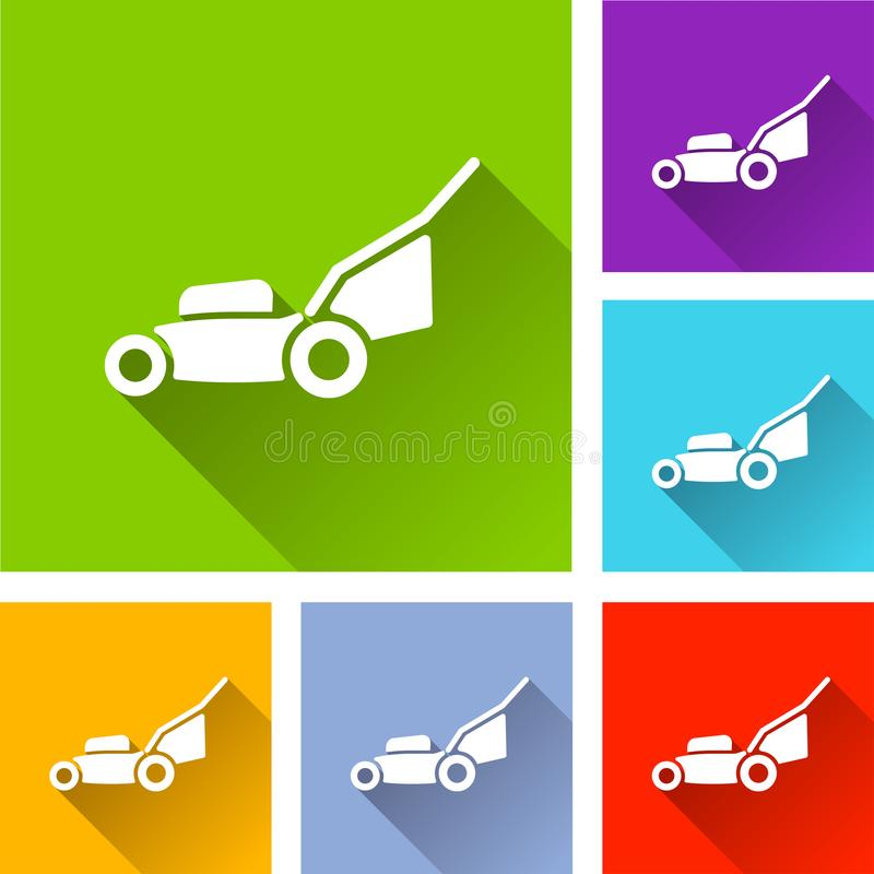 Lawn mower icons with shadow. Illustration of lawn mower icons with shadow vector illustration