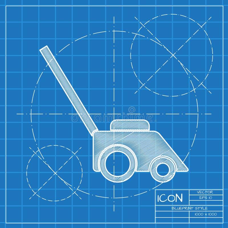 Lawn mower illustration. Gardening technology equipment tool  icon. Lawn mower illustration. Gardening machine technology equipment tool  icon stock illustration