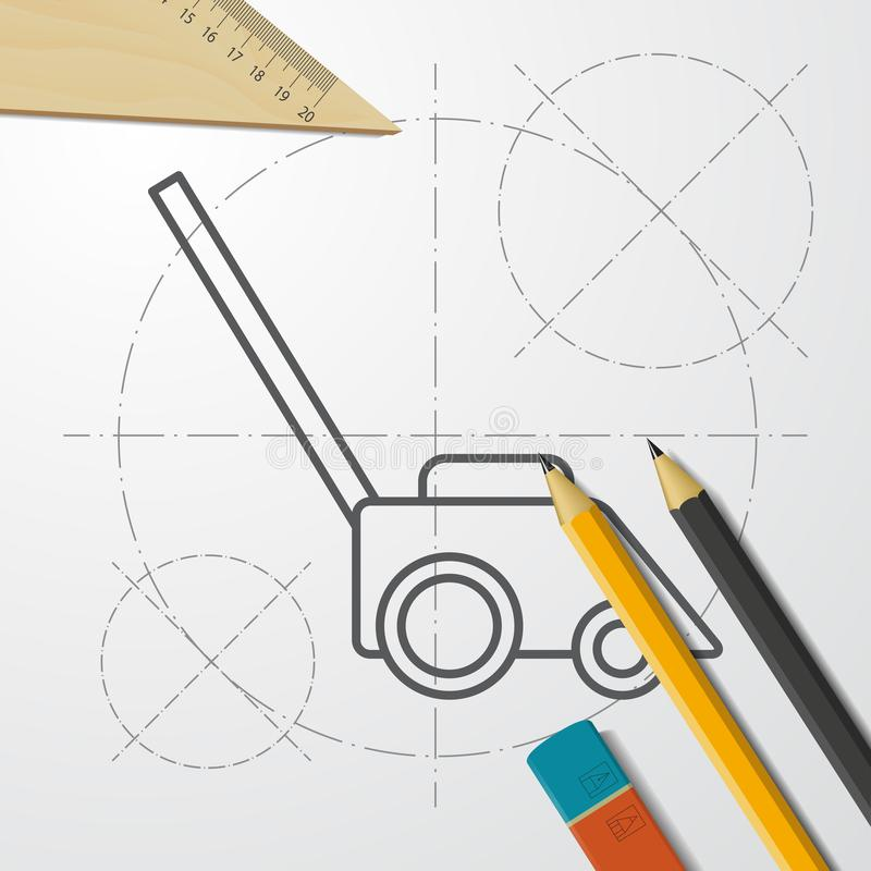 Lawn mower illustration. Gardening technology equipment tool vector icon. Lawn mower illustration. Gardening machine technology equipment tool vector icon stock illustration