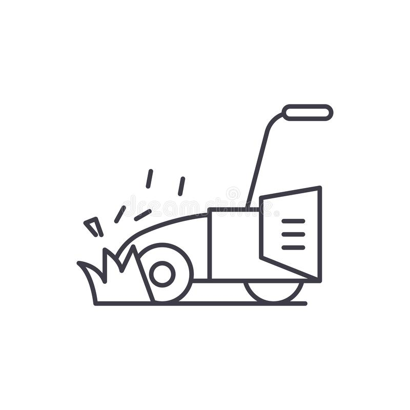 Lawn mower line icon concept. Lawn mower vector linear illustration, symbol, sign. Lawn mower line icon concept. Lawn mower vector linear illustration, sign stock illustration