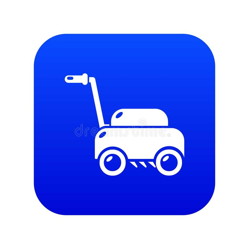 Lawn mower machine icon blue vector. Isolated on white background royalty free illustration