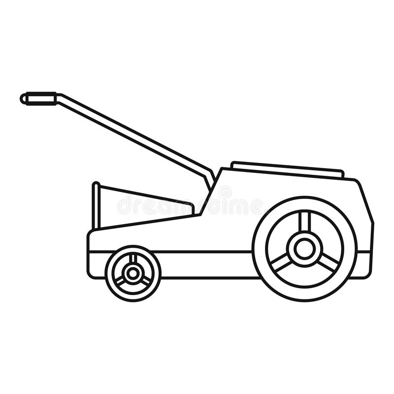 Lawn mower machine icon, outline style. Lawn mower machine icon. Outline illustration of lawn mower machine icon for web design isolated on white background vector illustration