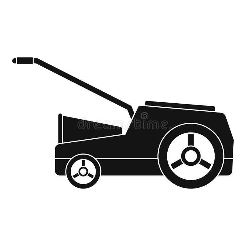 Lawn mower machine icon, simple style. Lawn mower machine icon. Simple illustration of lawn mower machine vector icon for web design isolated on white background stock illustration