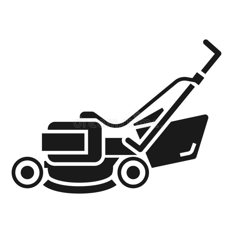 Lawn mower machine icon, simple style. Lawn mower machine icon. Simple illustration of lawn mower machine vector icon for web design isolated on white background royalty free illustration