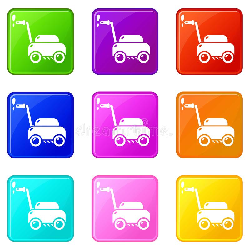 Lawn mower machine icons set 9 color collection royalty free illustration