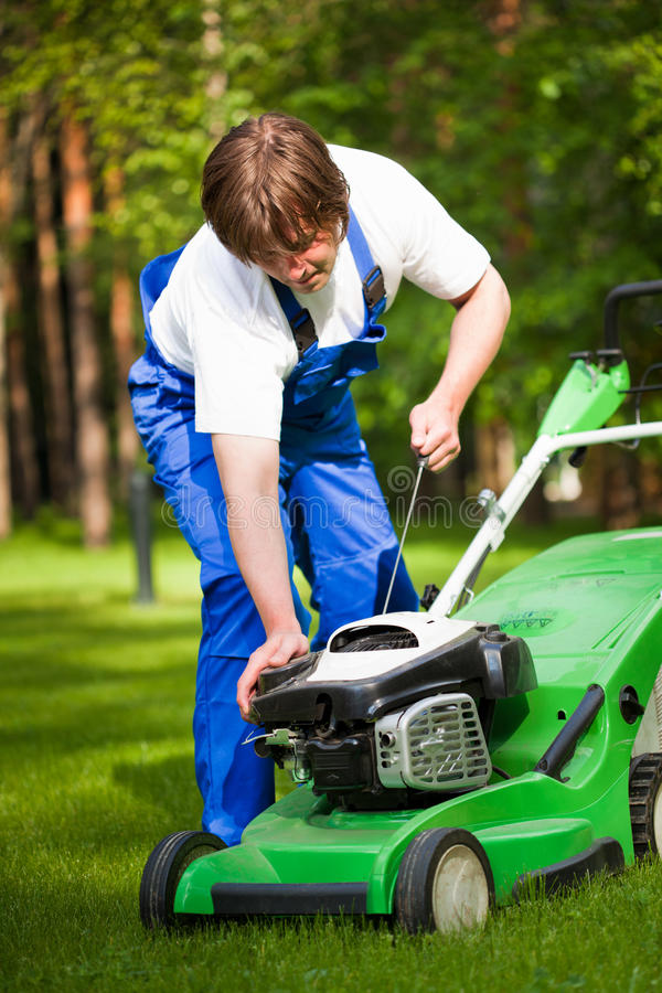 Lawn mower man royalty free stock images
