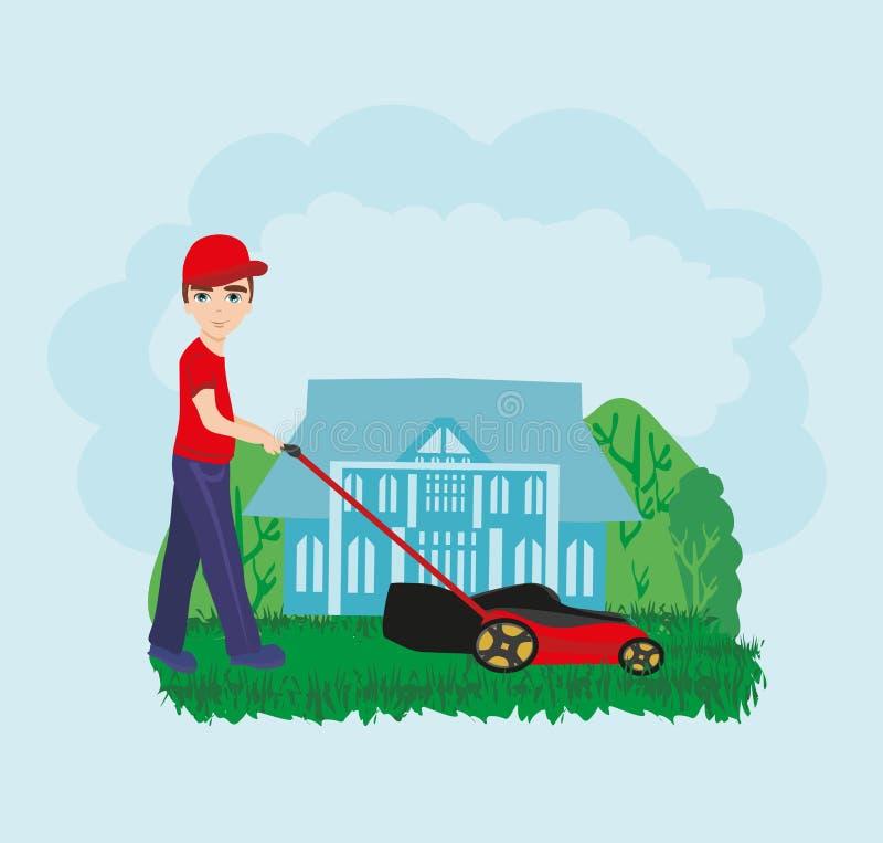 Lawn Mower Man Gardener Cartoon. Vector Illustration stock illustration