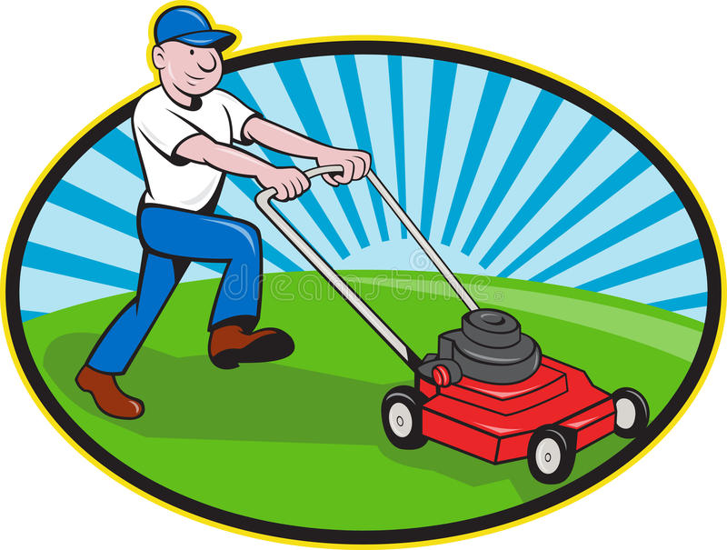 Lawn Mower Man Gardener Cartoon. Illustration of landscaper gardener pushing lawn mower smiling facing side done in cartoon style on isolated white background royalty free illustration