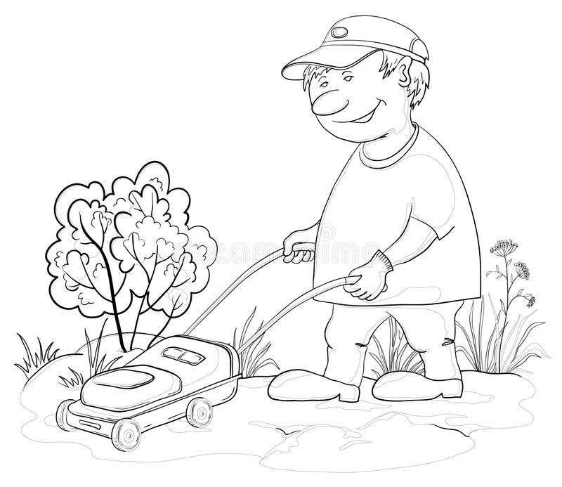 Lawn mower man, outline royalty free illustration