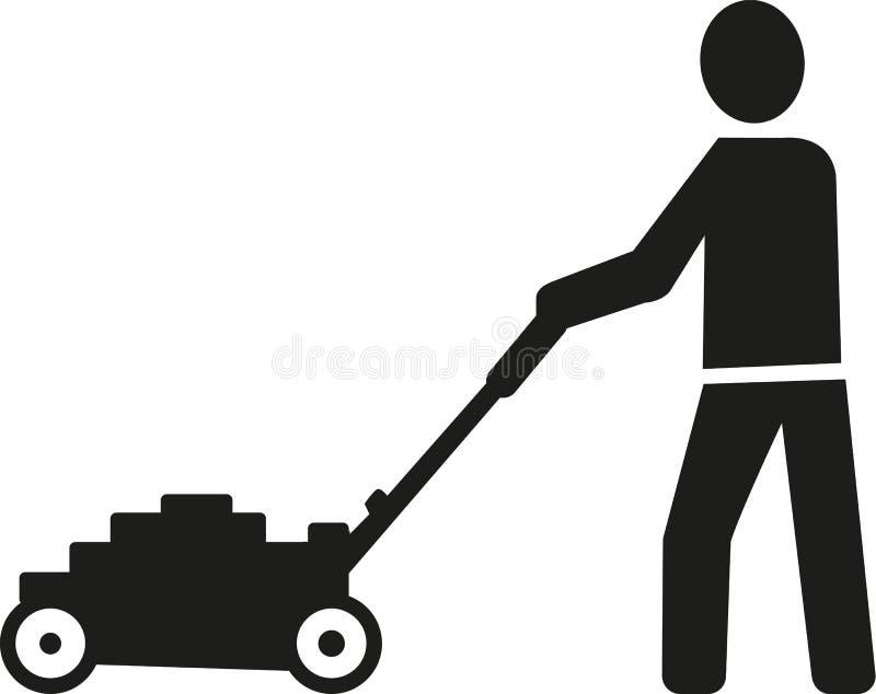 Lawn mower man pictogram. Vector stock illustration