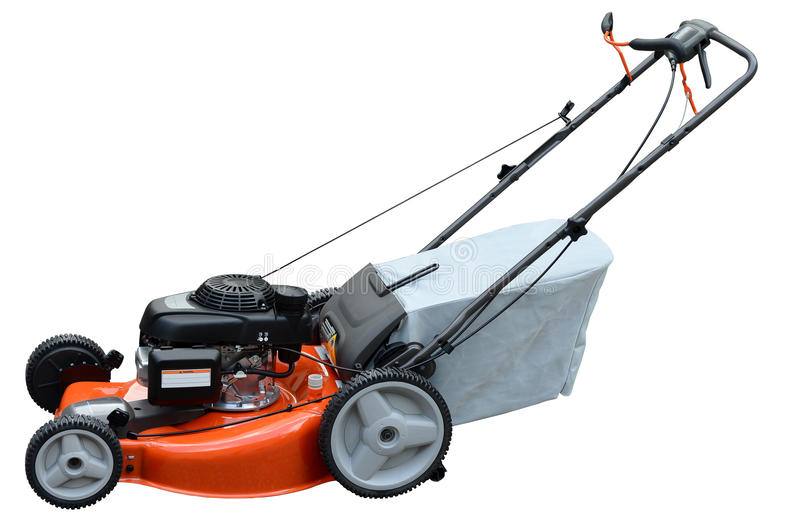 Lawn Mower. On side view isolated over white background stock photo