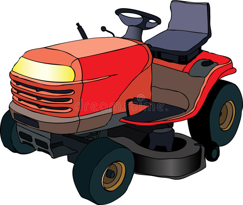 Lawn mower tractor. Vector illustration of red lawn mower machine stock illustration
