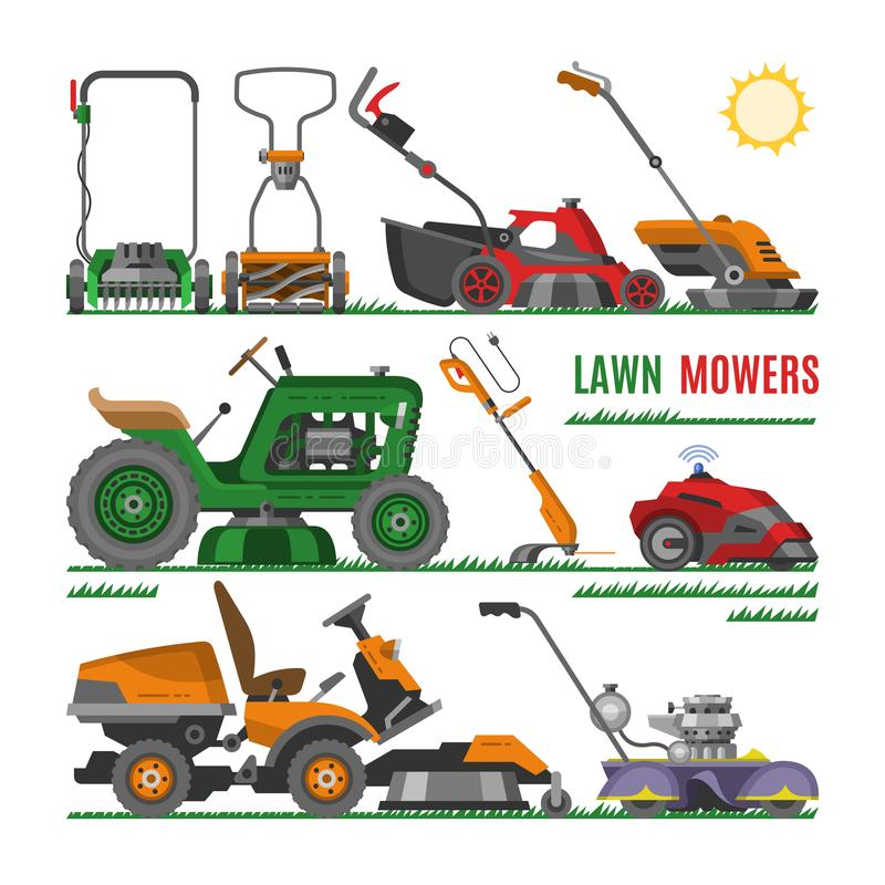 Lawn mower vector gardening lawnmower equipment mowing cutter tool illustration set of mower-engine machine grass-cutter vector illustration