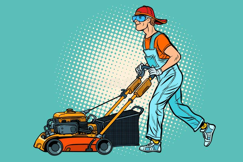 Lawn mower worker. Profession and service vector illustration