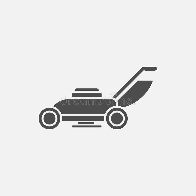 Lawn mowers vector icon. On grey background vector illustration