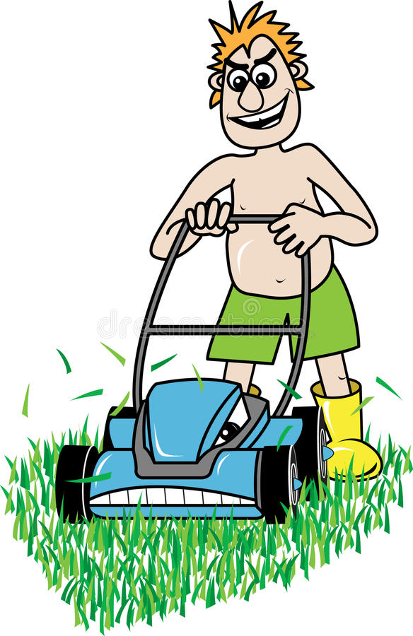 Lawn mowing. Vector Illustration of a man mowing the lawn with an angry lawn mower vector illustration