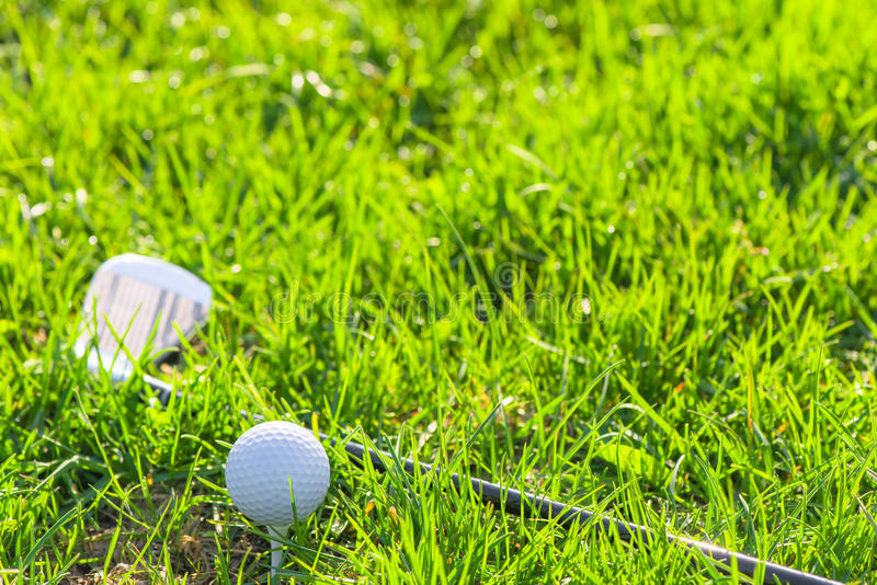 Lawn and props golf. Green lawn and props golf royalty free stock images
