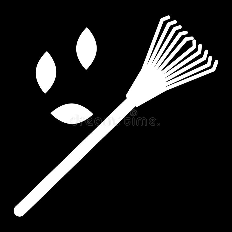 Lawn rake, leaves solid icon. vector illustration isolated on black. glyph style design, designed for web and app. Eps. Lawn rake solid icon. vector illustration stock illustration