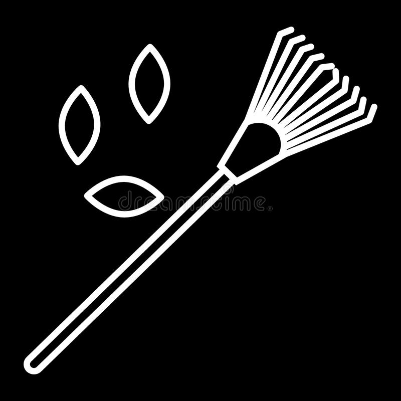 Lawn rake, leaves line icon. vector illustration isolated on black. outline style design, designed for web and app. Eps. Lawn rake line icon. vector illustration stock illustration