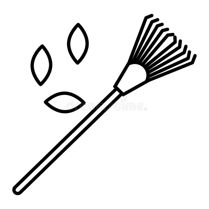 Lawn rake, leaves line icon. vector illustration isolated on white. outline style design, designed for web and app. Eps. Lawn rake line icon. vector illustration vector illustration