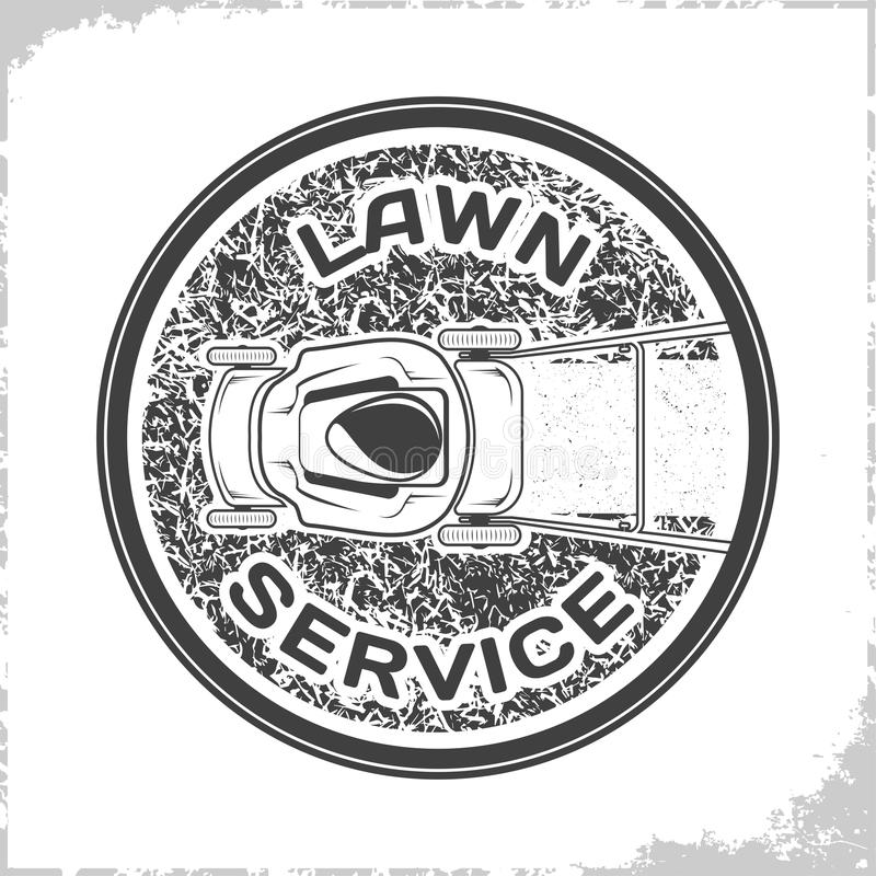 Lawn service logo monochrome. Vintage Lawn service logo design, monochrome style stock illustration