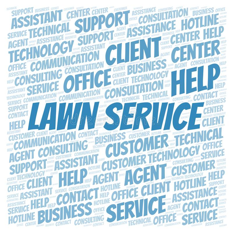 Lawn Service word cloud. Wordcloud made with text only vector illustration