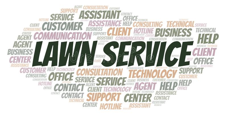Lawn Service word cloud. Wordcloud made with text only royalty free illustration