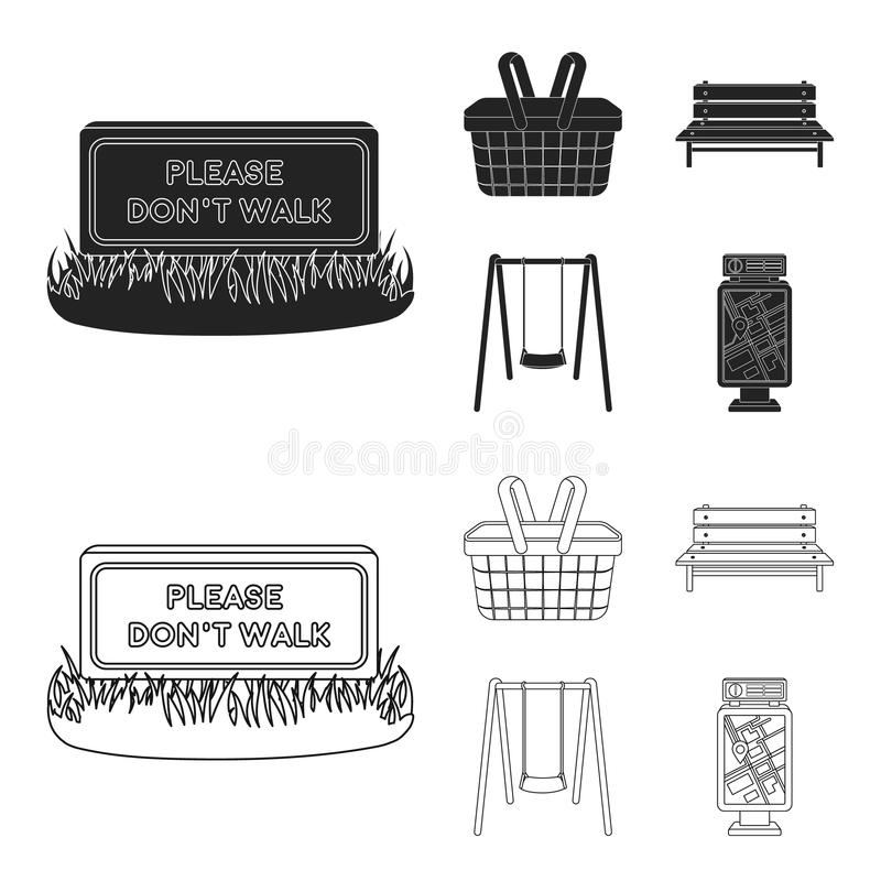 Lawn with a sign, a basket with food, a bench, a swing. Park set collection icons in black,outline style vector symbol royalty free illustration