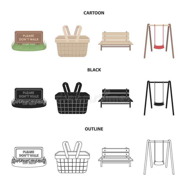 Lawn with a sign, a basket with food, a bench, a swing. Park set collection icons in cartoon,black,outline style vector stock illustration