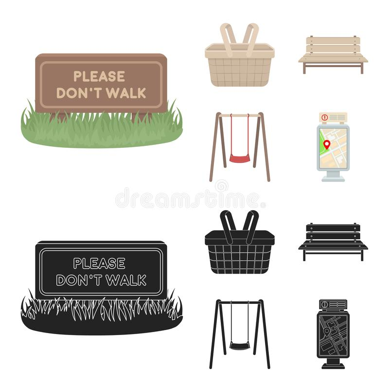 Lawn with a sign, a basket with food, a bench, a swing. Park set collection icons in cartoon,black style vector symbol stock illustration