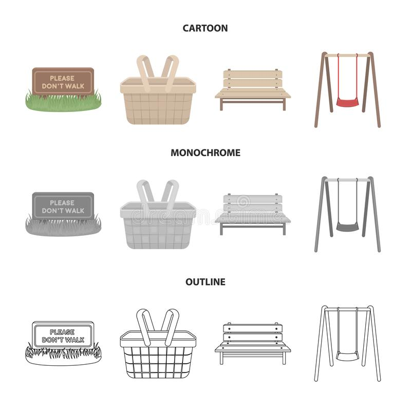 Lawn with a sign, a basket with food, a bench, a swing. Park set collection icons in cartoon,outline,monochrome style. Vector symbol stock illustration vector illustration