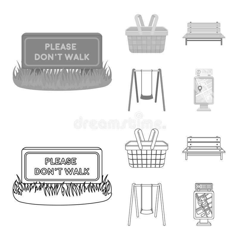 Lawn with a sign, a basket with food, a bench, a swing. Park set collection icons in outline,monochrome style vector royalty free illustration