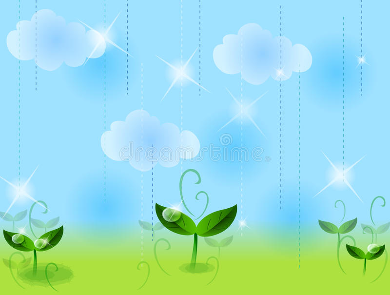 Lawn and sky. Green leaves on the lawn under blue sky with white cloud stock illustration