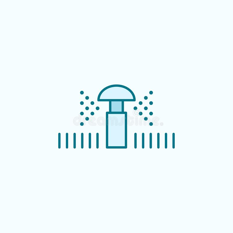 Lawn sprinkler field outline icon. Element of drip watering icon. Thin line icon for website design and development, app. Development. Premium icon on light stock illustration