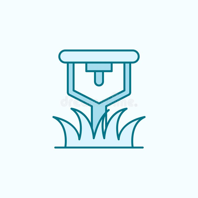 lawn sprinkler field outline icon. Element of drip watering icon. Thin line icon for website design and development, app stock illustration