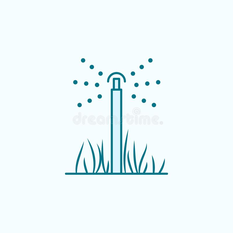 lawn sprinkler field outline icon. Element of drip watering icon. Thin line icon for website design and development, app royalty free illustration