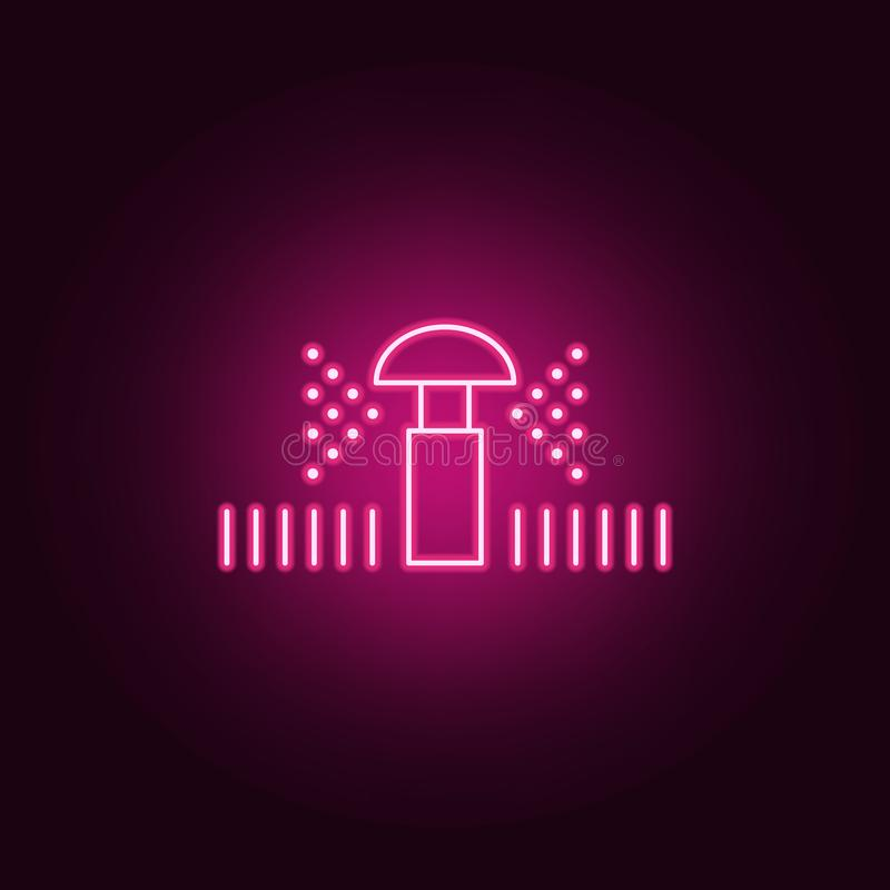 lawn sprinkler icon. Elements of Sprinkler in neon style icons. Simple icon for websites, web design, mobile app, info graphics vector illustration
