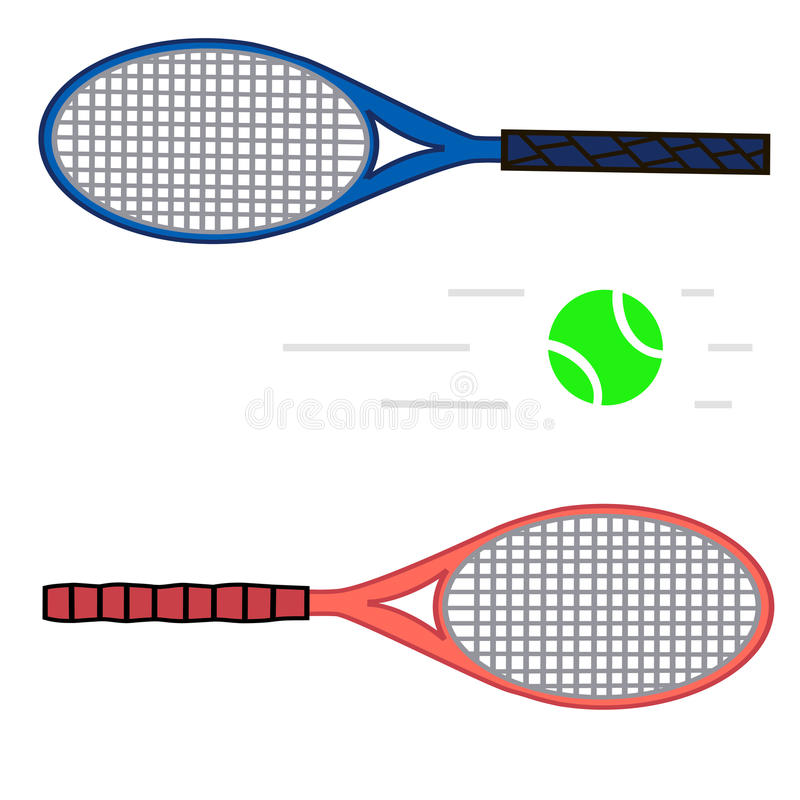 Lawn tennis. Vector illustration of logo for lawn tennis,consisting of flying green ball,grey racket close-up.Sports equipment for the sport.Wooden object vector illustration