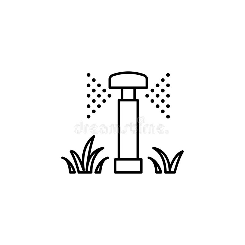 Lawn watering icon. Element of drip watering icon for mobile concept and web apps. Thin line lawn watering icon can be used for we. B and mobile on white stock illustration