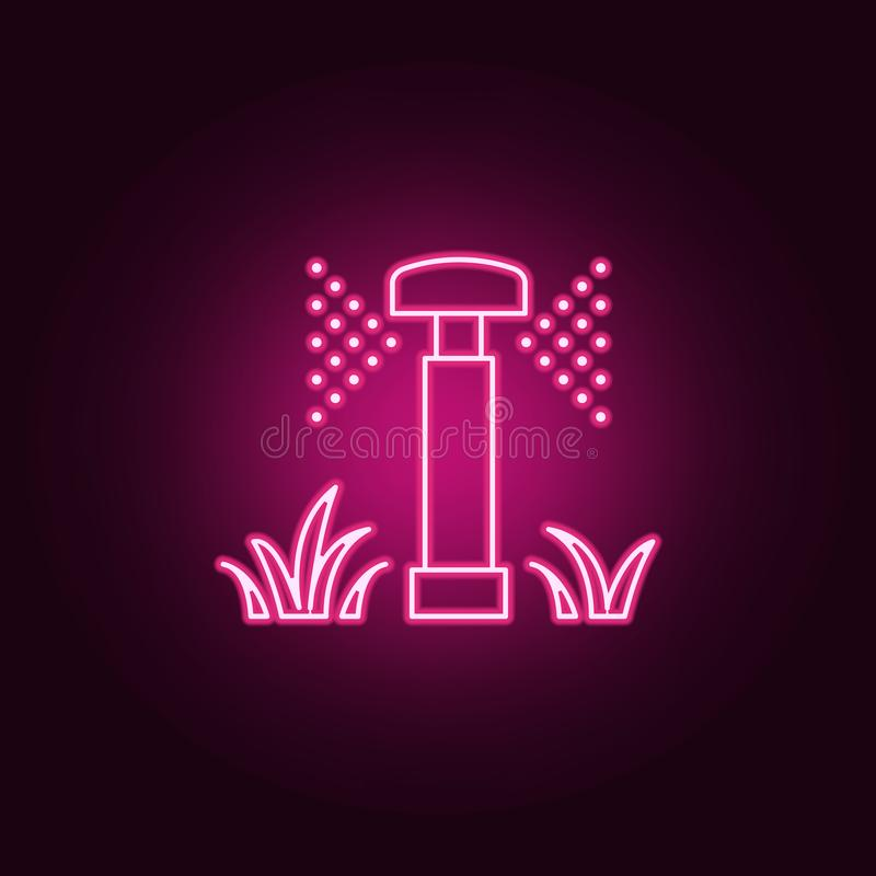 lawn watering icon. Elements of Sprinkler in neon style icons. Simple icon for websites, web design, mobile app, info graphics royalty free illustration