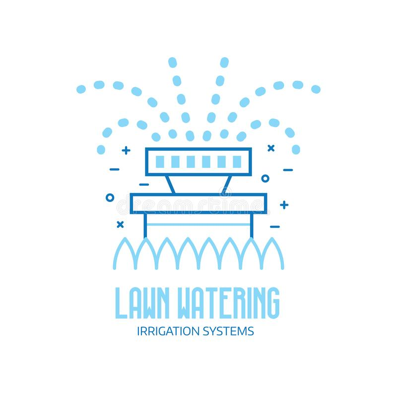 Lawn Watering Logo with garden Sprinkler. Garden sprinkler icon. Automatic lawn watering logo or emblem template. Irrigation system logotype in line art royalty free illustration