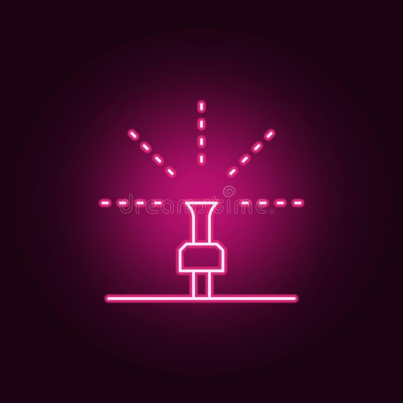 lawn watering system icon. Elements of Sprinkler in neon style icons. Simple icon for websites, web design, mobile app, info vector illustration