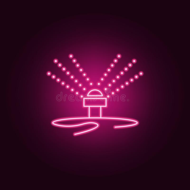 lawn watering system icon. Elements of Sprinkler in neon style icons. Simple icon for websites, web design, mobile app, info stock illustration