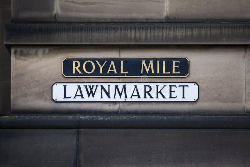 Lawnmarket på den kungliga mil royaltyfri bild