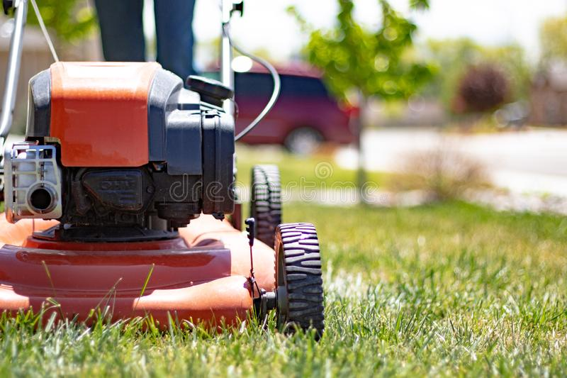 Lawnmower being used on front lawn stock photo