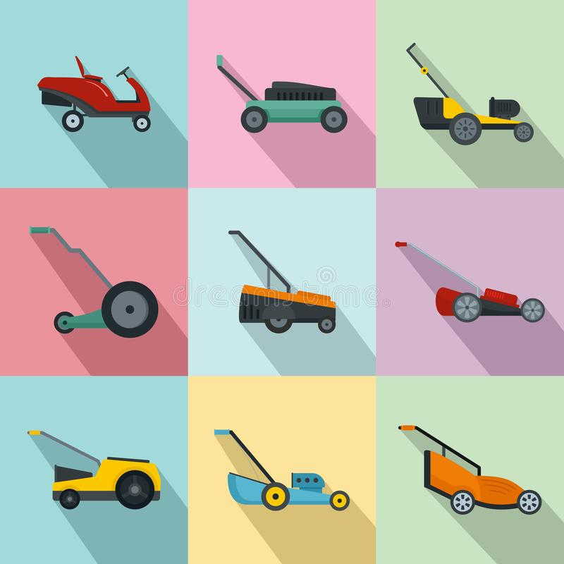 Lawnmower grass garden icons set, flat style stock illustration