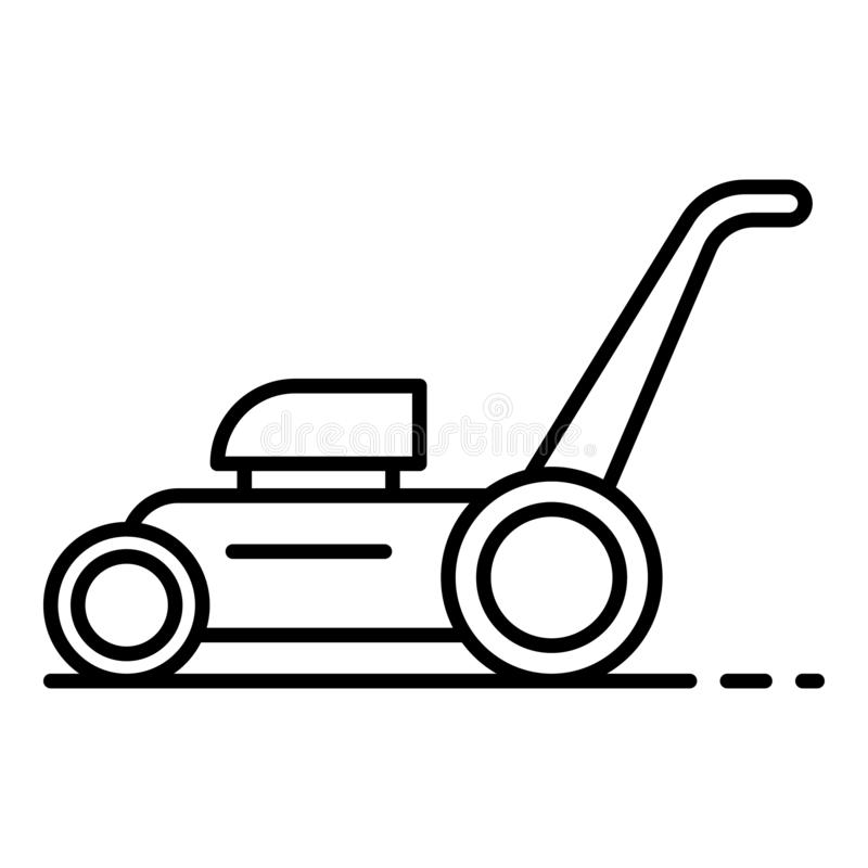 Lawnmower icon, outline style. Lawnmower icon. Outline lawnmower vector icon for web design isolated on white background royalty free illustration