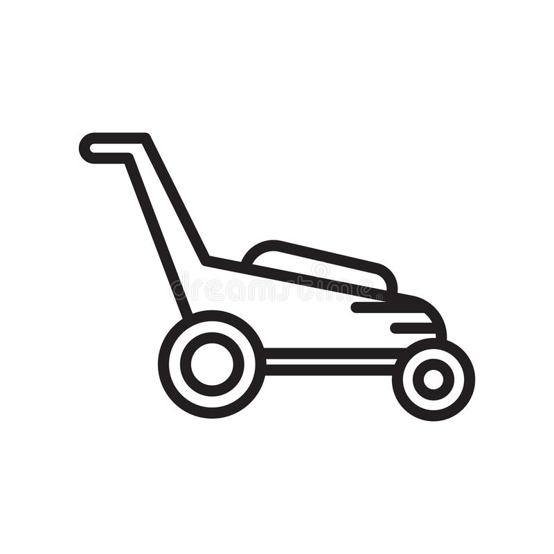 Lawnmower icon vector sign and symbol isolated on white background, Lawnmower logo concept , outline symbol, linear sign , outline vector illustration