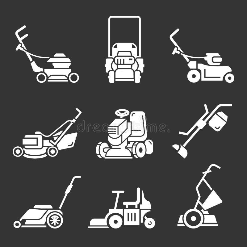 Lawnmower ikony set, prosty styl ilustracji